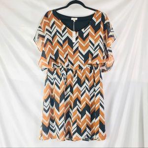 NWT Charming Charlie Chevron Blouson Waist Dress
